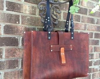 Crisp FALL Sale Leather Tote* Oak Saddle Tote* Leather Handbag* Hobo Bag* Market Bag* Handmade in the USA