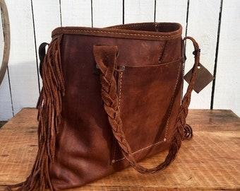 Crisp FALL Sale Distressed Brown Handbag* The Danni*  Tassels* Leather Fringe* Wild Leather Handbag* Leather Bag* Handmade