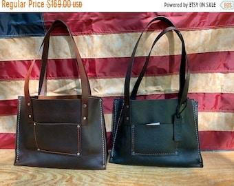 Crisp FALL Sale Shorty Leather Handbag* Soft Leather Handbag* Custom Leather* Hand Stitched *Made in the USA