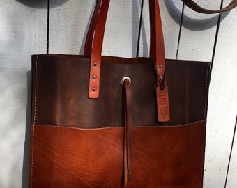 Crisp FALL Sale Mixed Leather Tote* Large Leather Tote* Handmade Leather Tote* Custom Leather Bags* Handmade in the USA