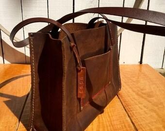 Crisp FALL Sale Leather Handbag* Shorty Kodiak Leather Handbag* Soft Brown Leather Handbag* Custom Made Handbag* Handmade in the USA