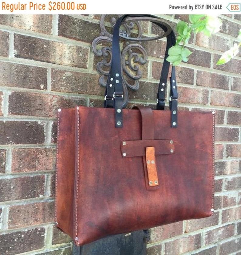 1ed30563744aa 10 % OFF Leather Tote* Oak Saddle Tote* Leather Handbag* Hobo Bag* Market  Bag* Handmade in the USA
