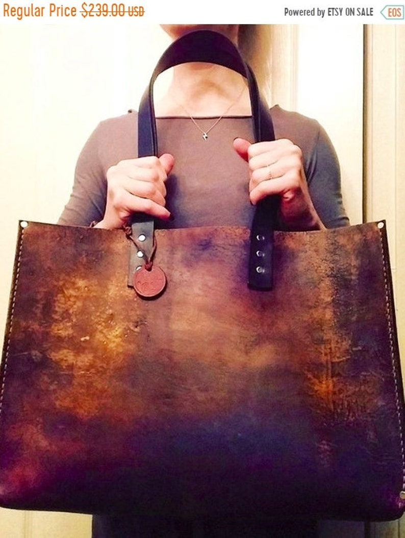 b90411d214069 Hot Days of June Sale Distressed Leather Tote* Distressed Leather Oak Tote*  Leather Office Bag* Leather BoHo Bag* Handmade in the USA