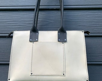 Crisp FALL Sale White Leather Tote* Summer Tote* Black and White Leather Tote* Custom Made Leather Bag* Made in the USA