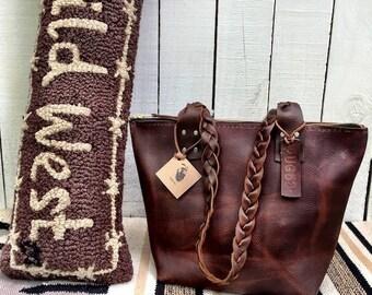 Crisp FALL Sale Leather Handbag* Brown Leather Handbag* Leather Purse* Leather Bag* Handbag* Handmade in Raleigh NC USA