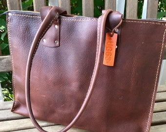 Crisp FALL Sale Leather Business Bag * Soft Leather Business Bag * Zippered Leather Bag  * Large Leather Business Bag