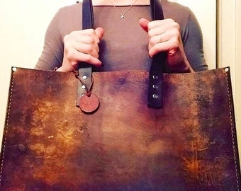Crisp FALL Sale Distressed Leather Tote* Distressed Leather Oak Tote* Leather Office Bag* Leather BoHo Bag* Handmade in the USA
