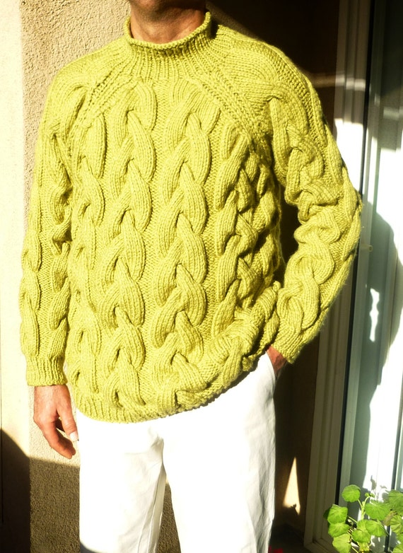 Chunky Cable Knit Sweater For Him Men Knit Sweater Heavy Etsy