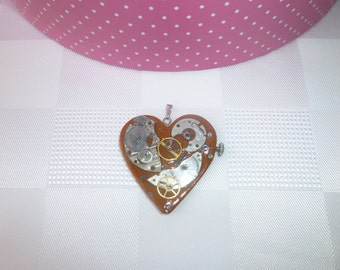 Handmade Steampunk Heart Pendant, Industrial Mechanical Look brown polymer clay