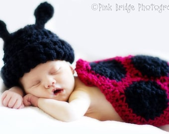 Crochet Infant Ladybug Cape With Matching Hat