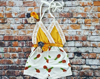 Boho Chic Pineapple Lace Romper & Headband. Newborn Baby Girl Coming Home Outfit, 1st Birthday, Summer Set, Baby Shower Gift, Cakesmash