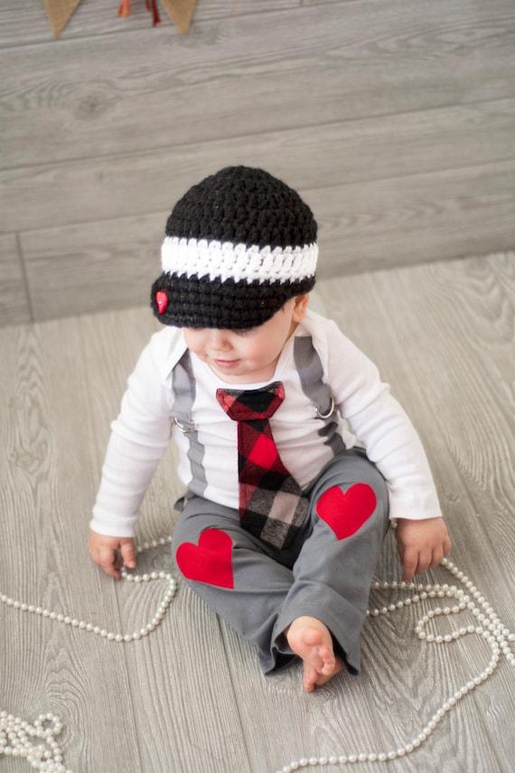 ccca4b902b2ae Baby Boy Valentine's Day Tie and Suspenders Bodysuit w   Etsy