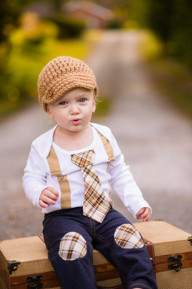 0e416b2552a Baby Boy Tie w Suspenders Bodysuit Newsboy Hat Pants.