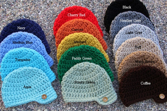 8eece546964 Crocheted Newsboy Style Visor Hat with Button Newborn to 4t