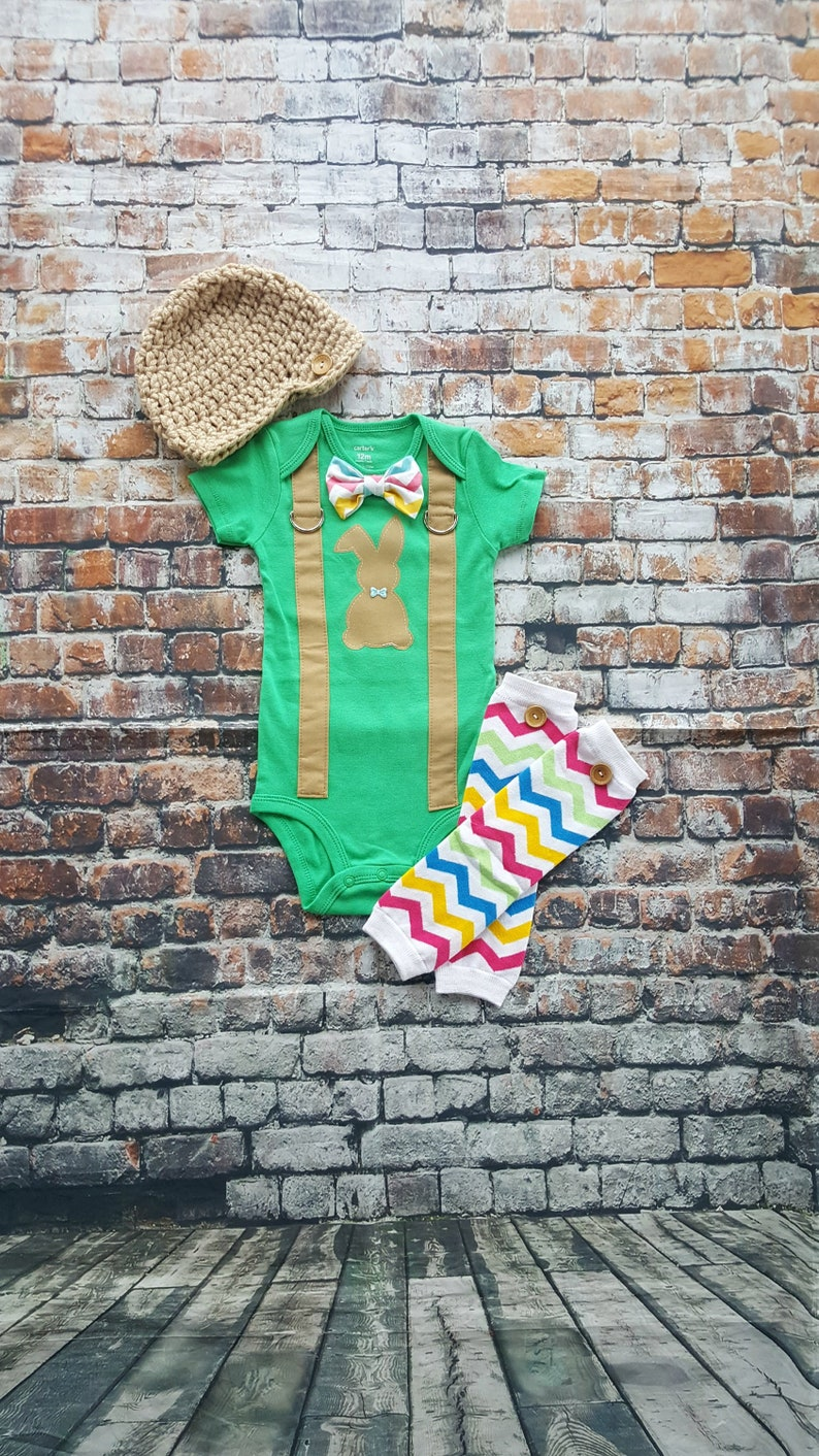 8d6d16a23 Baby Boy Easter Bow Tie Bodysuit w Suspenders w Button Leg warmers, Bunny,  Easter Chevron Bow Tie, Photo Prop, Easter Sunday, 1st Easter
