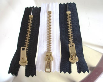 3 New 3 Inch YKK  Brass Black/White/Dark Blue Jean Zippers with Closed Bottom