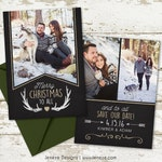 Holiday Photo Save the Date Card - Say Merry Christmas and Save the Date - Wedding Save the Date - Winter Save the Date