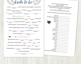 bridal shower mad libs advice printable design instant download wedding fun bridal shower fun wedding advice for the bride