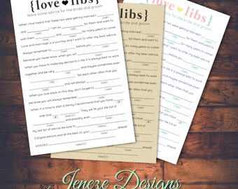 Wedding Mad Libs Advice Card - Printable Design - Instant Download - Day of Fun - Wedding advice - for the Bride and Groom