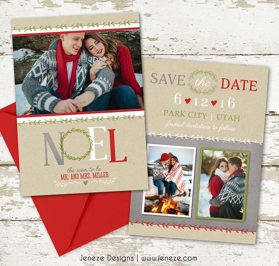 Holiday Photo Save the Date Card Say Merry Christmas and | Etsy
