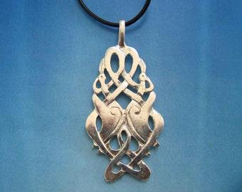 Celtic Crane ~ Sterling Silver Pendant Reversible