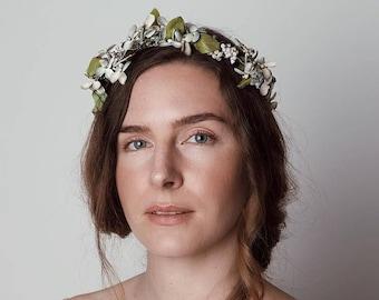 Midsummer Night's Floral Headband -  1920s & 1930s inspired hair headband, vintage wedding, blue vintage flowers, Art Nouveau hair accessory