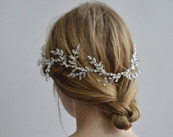 Wreath of Frost Bridal Halo - 1920s & 1930s bridal wreath, vintage wedding, Swarovski Art Deco hair accessory