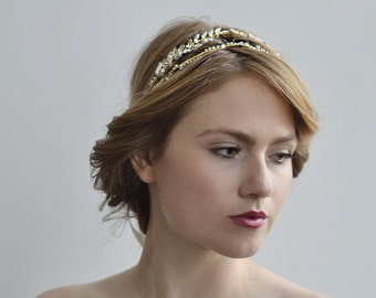 The Delphine Halo - 1920s & 1930s inspired bridal halo, vintage wedding, Art Deco hair accessory
