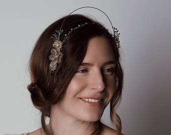 Garden of Eden Halo - 1920s & 1930s inspired halo, vintage wedding, gold and pewter, Art Deco hair accessory