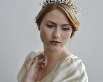 Evening Frost Bridal Crown - 1920s & 1930s inspired bridal crown, vintage wedding, Swarovski rhinestone, Art Deco hair accessory