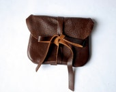 Chocolate brown leather mini clutch- pretty floral liner