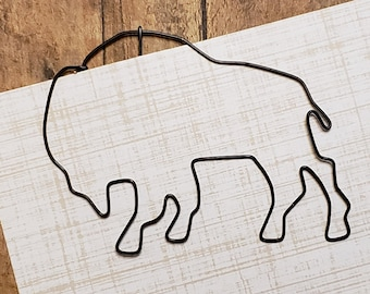 Buffalo Bookmark -  Wire Filofax Paperclip - Planner Clip - Valentines Day - Wedding - Bison - Outdoor- Nature - Gift - Party Favor - Animal