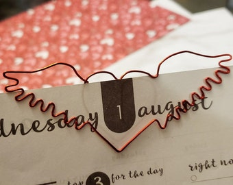 Winged Heart Bookmark - Wire Filofax Paperclip - Planner Clip - Valentines Day - Wedding - Valentines - Valentine - Party Favors - Heart