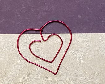 Heart Bookmark - Wire Filofax Paperclip - Planner Clip - Valentines Day - Wedding - Valentines - Valentine - Gift - Party Favors - Heart
