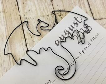 Dragon Bookmark - Wire Filofax Paperclip - Planner Clip - Wedding - Party Favors - Wire - Bookmark - Dragon - Dragons- Fantasy - Mythic
