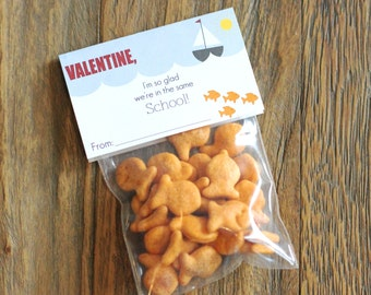 Printable Classroom Valentines Bag Tops - School of Fish