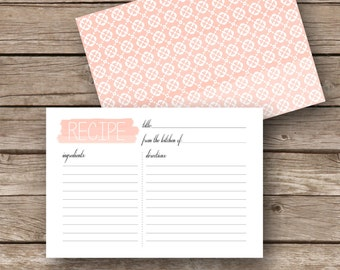 Printable Recipe Cards - 4x6 - Watercolor