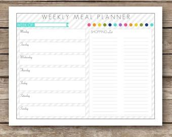 Printable Weekly Meal Planner & Shopping List Worksheet - Week At A Glance
