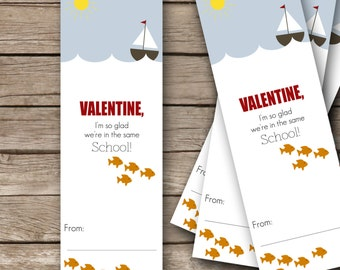 "Printable Valentine's Bookmarks - 2""x6""- School of Fish"