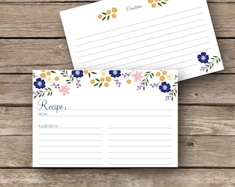 Printable Recipe Cards - 4x6 - Flower Garden
