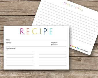 Printable Recipe Cards - 4x6 - Colorful