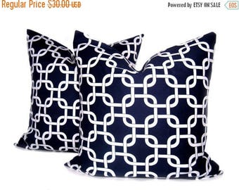 15% Off Sale Navy Pillow Covers. Throw Pillow Sets. 16x16 Inch. Decorative Accent Pillows. Chain Link. Set of Two printed fabric on both sid