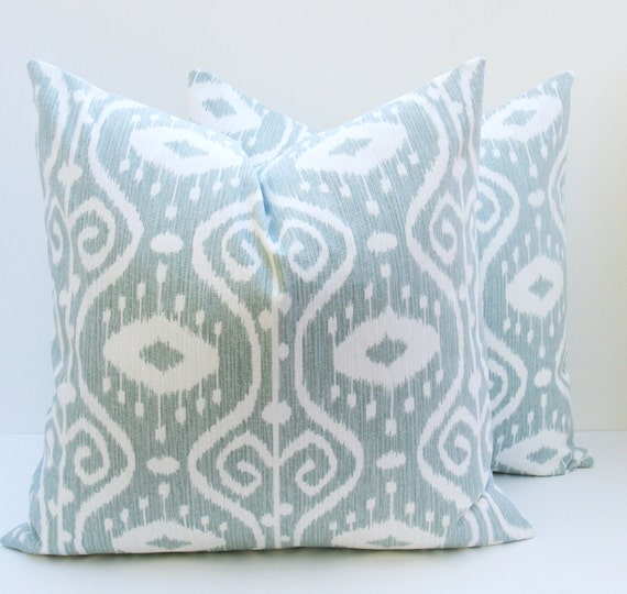 Items similar to ikat pillow cover 16x16 inch pillow spa - Fabric for throw pillows ...