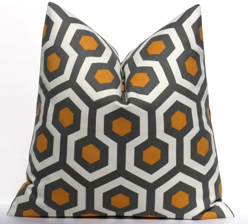 SET of TWO Throw Pillow Covers 16x16  Orange Gray Pillow image 0