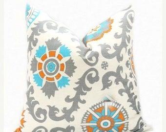 15% Off Sale Decorative Pillows, Orange Gray pillow, Aqua Pillow, Aqua Gray Pillow, Accent Pillow, Throw Pillow, Toss Pillow , Cushion Cover