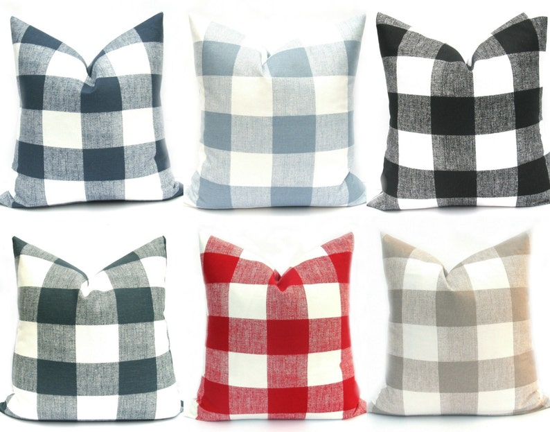 Buffalo Check Pillow Decorative Pillow Plaid Pillow Gray image 0
