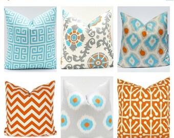 15% Off Sale Decorative Pillow, Orange Aqua Pillow, Orange Pillow cover , Chevron pillow, Accent pillow,  Aqua Blue Pillow  Decorative Pillo
