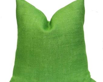 15% Off Sale Green Pillow cover, Green Pillows, Green Throw Pillow, Burlap Pillow, Burlap Pillow Cover, Decorative Pillows, Accent Pillows,