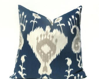 15% Off Sale Navy Pillow,Decorative Pillow Covers, Euro Pillow , Pillow Cover - Euro Pillow cover - Ikat Pillows - Decorative Pillow - Cushi