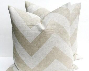 15% Off Sale Decorative Throw Pillows 18x18 Chevron Pillow TWO Burlap Pillows Pillow Cover HouseWares Decorative Pillows  Accent Pillow Cush